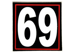 Helmet Sticker - square 69 sticker . Order your's soon, We will ship you the day you order