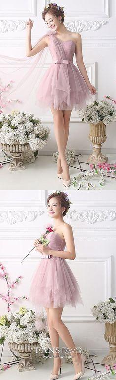 Short Homecoming Dresses Pink, Princess Homecoming Dresses One Shoulder, Tulle Homecoming Dresses Modest, Sashes Homecoming Dresses Petite #FansFavs #homecomingdresses #pinkdress #princessdress