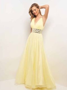 Blush Prom 9519 - Chiffon elegance in a sexy prom dress! This dramatic v-neck is defined by three rows of beads at the waist and a stunning crisscross back. #prom