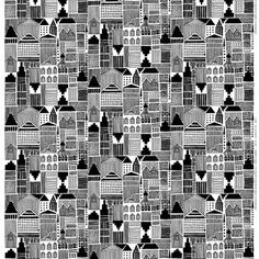 This Onnea etsimässä fabric comes from Marimekko and is designed by Maija Louekari. The fabric is made of heavyweight cotton and has a graphic pattern in black and white.