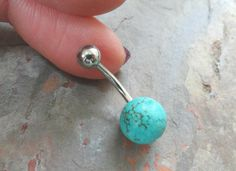 Round Turquoise Stone Belly Button Jewelry Belly Ring on Etsy, $13.00