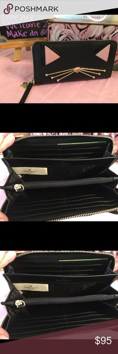 ❣️❣️❣️Holiday Sale!  Kate Spade Kitty Wallet ❣️💕Holiday  Sale! Kate Spade Kitty Wallet.  Two sided compartment avail for 12 credit cards and zipper change storage.Final offer! kate spade Bags Wallets