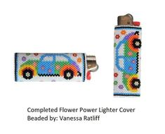 This Flower Power lighter cover fits a standard BIC lighter and is worked in flat peyote and zip up afterwards to form a tube I designed it so the join Pony Bead Patterns, Peyote Stitch Patterns, Beaded Bracelet Patterns, Beading Patterns, Beaded Jewelry, Beaded Bracelets, Beaded Crafts, Beaded Ornaments, Cool Lighters