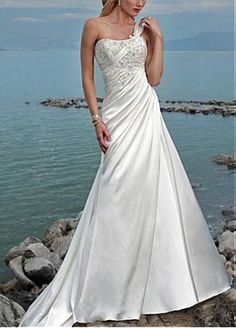 Elegant Satin A-line One Shoulder Wedding Dress For Your Beach Wedding
