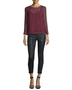 Gaiane Crepe Cutout Embroidered Top