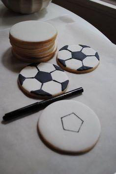 Soccer Ball Sugar Cookies Tutorial #sports #cookies