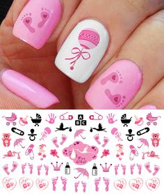 """Its A Girl!"" Nail Art Decals Footprints, Strollers & More! Baby Shower Gift!"