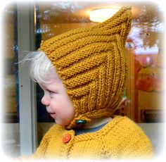 Hand knitted pixie hat 0-5 years Fall Winter by TwoGreyRabbits