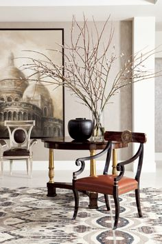 Malmaison Arm Chair, D'Orsay Gallery Table, Lucien Arm Chair, and Basilica I Oil Painting from Collection Ten by Ebanista - Ikat Area Rug from Ebanista