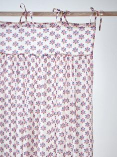 A delicate and floral print on a lightweight curtain that will tenderly dress up a window with Indian flair. It's quite practical and very easy to ins Tie Top Curtains, Half Curtains, Linen Curtains, Curtain Fabric, Curtain Rods, Indian Fabric, Pink Blue, Household, Floral Prints