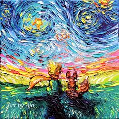 Little Prince Art Starry Night print Le Petit Gogh by Aja baby room child gift playroom nursery choose size and type of paper Starry Night Art, Art Night, Starry Nights, Van Gogh Art, The Little Prince, Hanging Art, Pablo Picasso, Art Plastique, Vincent Van Gogh