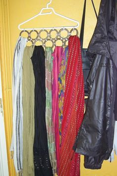 Scarf storage circles can be shower curtain circles tapped together