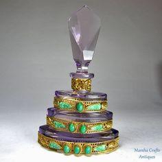 Amethyst Jeweled Czech Perfume Bottle