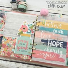 Carpe Diem planner from creative team member Vanessa Dugan using our Faith collection Planner Dividers, Planner Layout, Planner Organization, Planner Pages, Life Planner, Printable Planner, Happy Planner, Planner Stickers, Planner Ideas