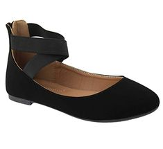 ANNA Women's Classic Ballerina Flats with Elastic Crossing Straps Pin Up Shoes, Cute Shoes, New Shoes, Kitten Heel Pumps, Peep Toe Pumps, Pumps Heels, T Strap Heels, Ankle Strap Flats, Ankle Straps