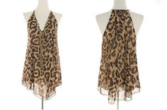Sheer Animal-Print Halter Top with attached necklace