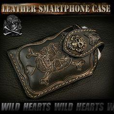 Skull/Leather iPhone Case/Smartphone Case/Mobile Case/Skull carved leather/Skull & bones