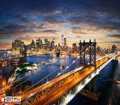 Manhattan after Sunset.  Desktop Background.  Click to Download.