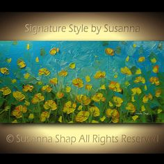 ORIGINAL Contemporary Blue Yellow Poppies Scenic by ModernHouseArt, $355.00