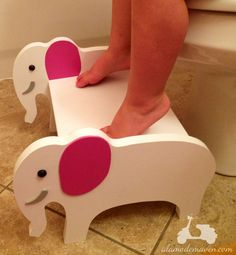 How cute is this little elephant stool we ordered for k's bathroom? Look at his cute pink ears! I think he will go perfectly in...