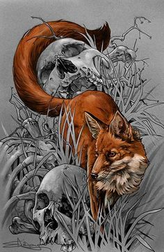 Tattoo Artwork by Elvin Yong at Elvin Tattoo in Singapore Foxes Skulls ...