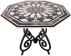 Vintage Italian Inlaid Marble Top Center Table on Chairish.com