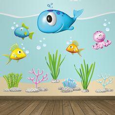 Stickers pour enfants: animaux océan. Mer en kit. #stickersmuraux #decoration #motifs #mosaïque #poulpe #poisson #WebStickersMuraux