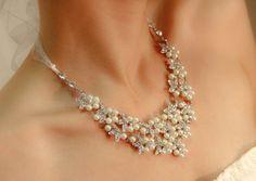 Wedding Jewelry Set , OOAK Bridal bib necklace earrings set , Statement Wedding Crystal With Pearls Necklace,  pearl necklace earring