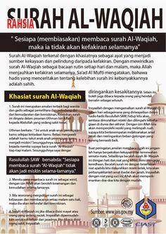 Hasil gambar untuk kelebihan surah al waqiah Prayer Verses, Quran Verses, Quran Quotes, Hijrah Islam, Doa Islam, Islamic Inspirational Quotes, Islamic Quotes, Religious Quotes, Surah Al Quran