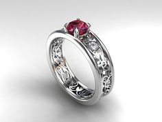 Pink tourmaline ring white gold diamond ring by TorkkeliJewellery, $1879.00