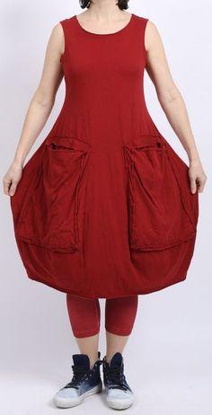 rundholz black label - Ballonkleid Jersey mit Riesentaschen strawberry - Sommer 2016 - stilecht - mode für frauen mit format...