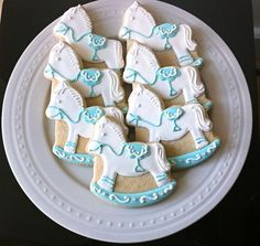 Decorated Baby Shower Cookies Shimmer Rocking Horses by peapods cookies