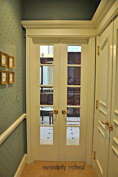 narrow french doors to mud room