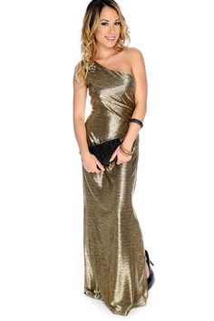Wear this Sexy dress to Prom and shine! Featuring; Metallic, Across shoulder…
