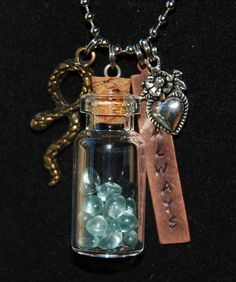 """Harry Potter~ Snape 'Always' Necklace,Tears in Bottle,Slytherin,Hand Stamped,28"""" #Handmade #Pendant"""