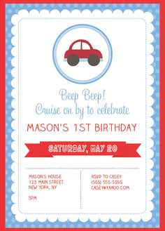 This birthday party invitation will be emailed to you as a digital file (either jpeg or pdf). You can print from home, have it printed at a print/copy center or email it to your guests. No printed mat