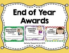 28 different End of Year Student Awards {Certificates}