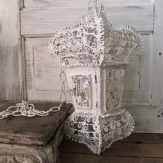 White scroll candle lantern w/ chain French by AnitaSperoDesign
