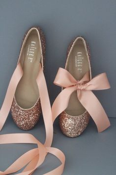 e8c48620b93e ROSE GOLD ROCK Glitter flats with satin bow tie - Women Gold Wedding Shoes  - Bridal Shoes