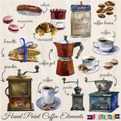Vintage Hand Painted Coffee & Bakery Design Elements Decorations Digital Clip Art Invitation Card Pattern Wall Art sw461 INSTANT DOWNLOAD by DesignbySiya on Etsy