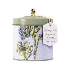 Paddywax Flower Market Soy Wax Candle Tin, 8-Ounce, Freesia and Apricot