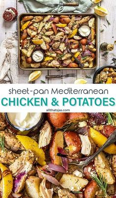 9 reviews · 50 minutes · Serves 6 · This Sheet Pan Mediterranean Herb Chicken and Potatoes dinner is super easy: cut all the ingredients, spread them on a baking sheet, and put them in the oven! Sprinkle with feta and rosemary for the… More Chicken Potato Bake, Chicken Potatoes, Oven Dishes, Side Dishes, Potato Dinner, Baked Roast, Easy One Pot Meals, Cooking With Olive Oil, Mediterranean Dishes