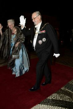 The Danish Royal Family hosted the annual New Year's Banquet at Amalienborg palace in Copenhagen