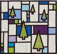 A Mondrian Christmas - stained glass quilt by  Trisch Price
