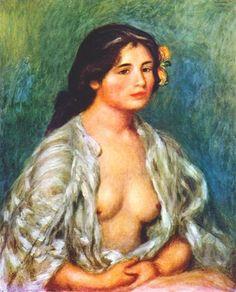 Impressionism art, Gabrielle with open blouse - Pierre-Auguste Renoir. #RenoirKisyovaLazarinova