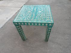 Bohemian Stencil Inlay Parsons Accent Table By CottageNecessities
