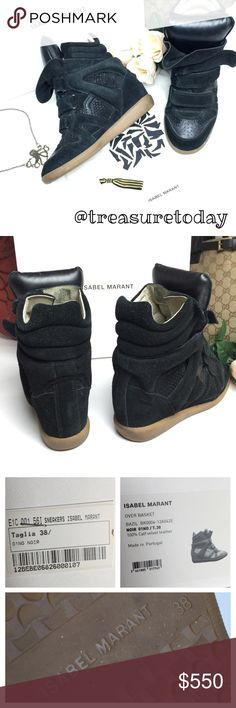 💸SALE💸 Isabel Marant Over Basket Wedge Sneakers Authentic Isabel Marant black suede & snake skin leather Wegde sneakers in great pre owned condition. Minor wear, no damage. 2 dust bags and box included. Feel free to ask any question, I'm here to help! 🎉Offers welcome 🎉 Bundle 2 or more items and get %10 off instantly💕 all pictures are taken by me. TV $650 Isabel Marant Shoes Sneakers