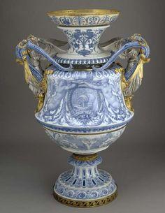 Monumental Vase Made by Sèvres Porcelain Factory c.1855 Sèvres, France; mounts made in Paris, France