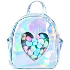 Sugar Thrillz Clear Front Heart Backpack ($35) ❤ liked on Polyvore featuring bags, backpacks, accessories, blue bag, holographic bags, see through backpack, backpack bags and transparent backpack