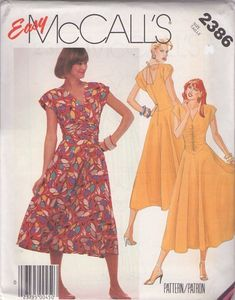MOMSPatterns Vintage Sewing Patterns - McCall's 2386 Vintage 80's Sewing Pattern EASY New Wave Era Tied DIPPED Back, Ruched Bodice Basque Full Skirt Party Dress Size 12